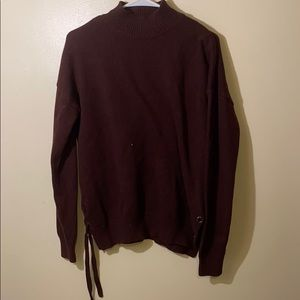 MAROON Knit Turtleneck Sweater with Grommet Sides